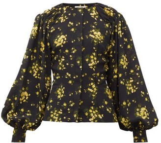 Emilia Wickstead Margot Floral-print Georgette Blouse - Black Yellow