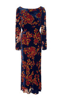 Saloni Tina Cowl-Back Floral-Print Velvet Dress