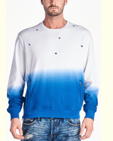 Cult of Individuality Scattered Crew Neck Sweatshirt In Ombre Royal