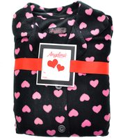 Angelina Black & Pink Heart Fleece Pajama Set - Plus Too