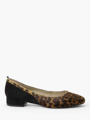 Boden Cathy Cowhide Suede Leopard Print Low Heels, Tan/Black