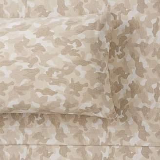 Pottery Barn Teen Essential Camo Print Jersey Pillowcases, Set of 2, Tan