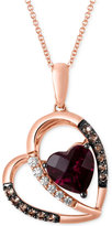 LeVian Le Vian Raspberry Rhodolite Garnet (2-1/5 ct. t.w.) and Diamond (1/10 ct. t.w.) Heart Pendant Necklace in 14k Rose Gold.