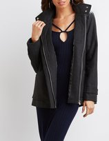 Charlotte Russe Faux Fur-Trim Hooded Coat
