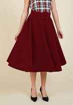 Make Your Presence Throne Midi Skirt in Ruby in XS