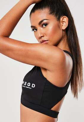 Missguided Black Cross Front Sports Bra