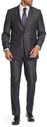 Perry Ellis Gray Two Button Notch Lapel Trim Fit Suit