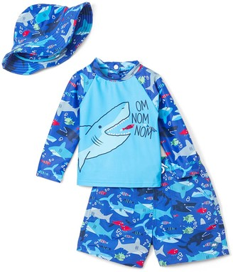 Heat Swimwear Boys' Board Shorts Shark - Blue Shark 'Om Nom Nom' Rashguard Set - Toddler
