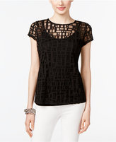 INC International Concepts Petite Deco Squares Illusion Top, Created for Macy's