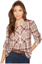 Lucky Brand Plaid Peasant Top Women's Long Sleeve Pullover