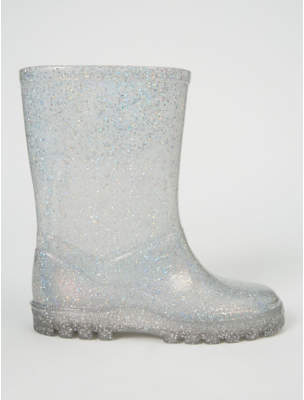 George Silver Holographic Glitter Wellington Boots
