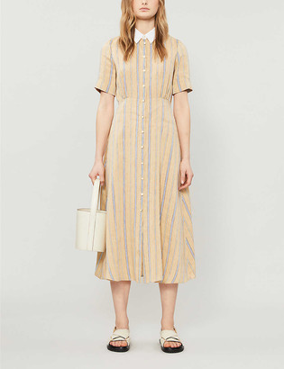 Sandro Rosita linen-blend midi dress