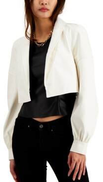 INC International Concepts Inc Cropped Faux-Leather Blazer, Created for Macy's