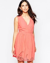 Lavand V Neck Skater Dress With Lace Hem