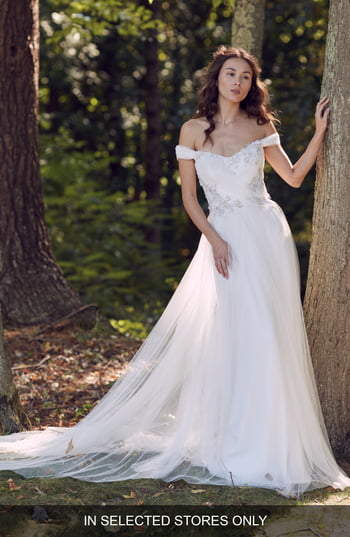 Marchesa Laura Floral Off the Shoulder Wedding Dress