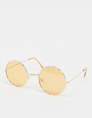 Jeepers Peepers round sunglasses with orange lens