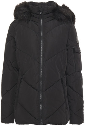 DKNY Faux Fur-trimmed Quilted Shell Hooded Jacket