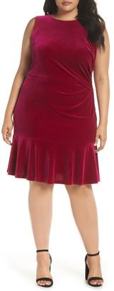 Eliza J Velvet Ruffle Hem Dress