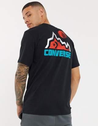 Converse Mountain Club back print logo t-shirt in black