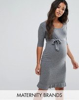 Mama Licious Mama.licious Mamalicious Knitted Dress With Pleat Detail Hem
