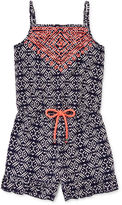 My Michelle Embroidered Medallion-Print Romper - Girls 7-16