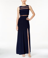 Night Way Nightway Petite Front-Slit Illusion Gown