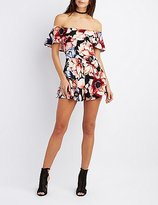 Charlotte Russe Floral Off-The-Shoulder Ruffle Romper
