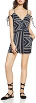 BCBGeneration Geo-Stripe Cold-Shoulder Romper