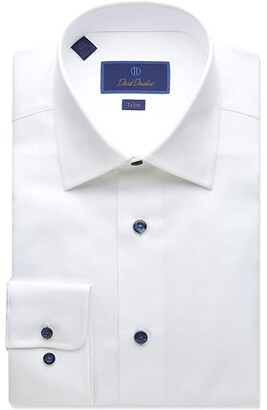 David Donahue Trim Fit Micro Textured Dress Shirt (White) Men's Clothing