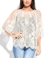 Miss June Beige Floral-Lace Sheer Three-Quarter Sleeve Top