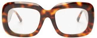 Linda Farrow Square Tortoiseshell-effect Acetate Glasses - Womens - Tortoiseshell