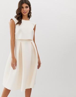 Asos Design DESIGN fold back crop top midi prom dress-Pink