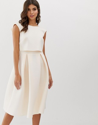 Asos DESIGN fold back crop top midi prom dress