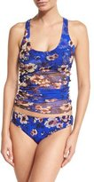 Fuzzi Floral-Print Tankini Swimsuit Set, Bluette