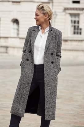 Next Womens Black/White Emma Willis Longline Coat - Black