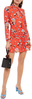 Self-Portrait Twisted Floral-print Crepe Mini Dress