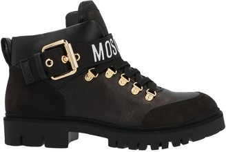 Moschino Logo Strap Combat Boots