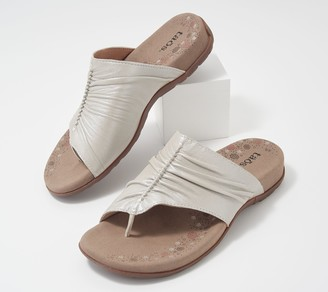 Taos Leather Ruched Toe Loop Sandals - Gift 2