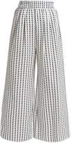 Mara Hoffman Polka-dot high-rise wide-leg cotton trousers