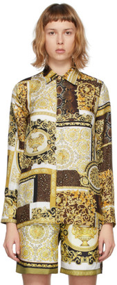 Versace White and Gold Silk Barocco Mosaic Shirt