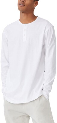 Cotton On Longline Scoop Henley Long Sleeve T-Shirt