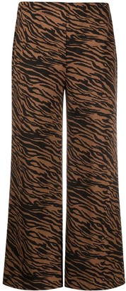 Liu Jo Cropped Animal-Print Trousers