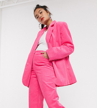 Collusion oversized cord blazer in pink