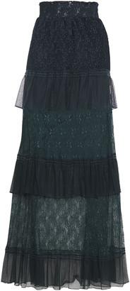 Just Cavalli Tiered Paneled Lace Maxi Skirt