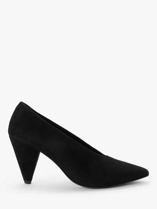KIN Ansa 2 Suede Cone Heel Court Shoes, Black