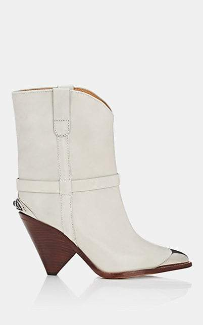 Isabel Marant Women's Lamsy Leather Ankle Boots - Chalk