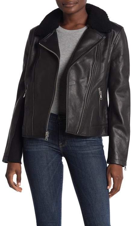 fe9ff1f03d8 Andee Leather Cycle Genuine Shearling Trim Moto Jacket