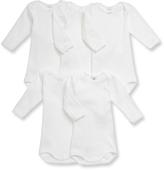 Petit Bateau Set of 5 baby girls white cotton long-sleeved bodysuits