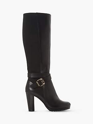 Dune Sebby High Block Heel Leather Knee Boots