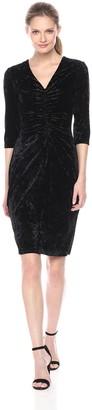 Julian Taylor Women's Full Figure Long Sleeve Rouched Velvet Dress